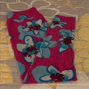 Lularoe Floral Leggings Pink/Blue OS